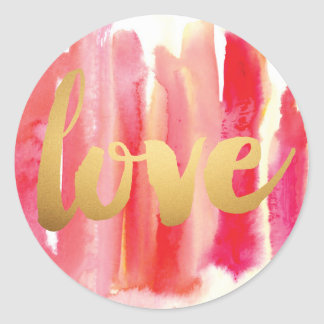 Gold Love Pink Red Watercolor Wedding Stickers
