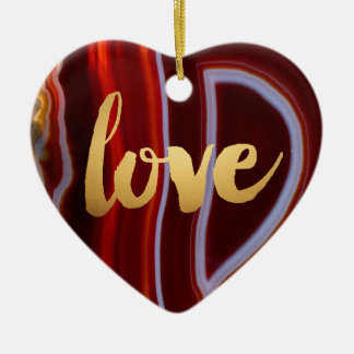 "Gold Love ""Red Agate"" Printed Ceramic Ornament"