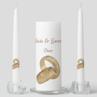 Gold Love Rings Unity Wedding Candle