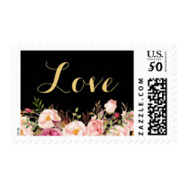 Gold Love Script Rustic Pink Floral Postage