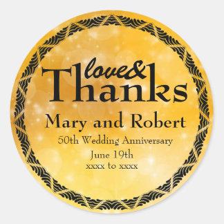 Gold Love & Thanks 50th Wedding Anniversary Custom Classic Round Sticker