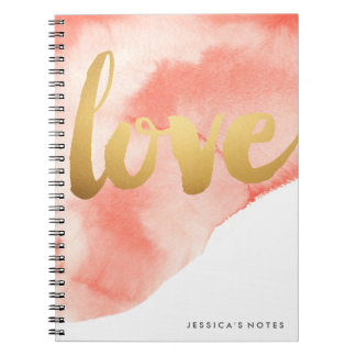 Gold Love Watercolor Personalized Notebook Coral