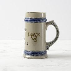 Gold Love with Interlocking Hearts Wedding Stein