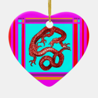 Gold Lucky Dragon & Turquoise by Sharles Ceramic Ornament
