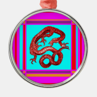 Gold Lucky Dragon & Turquoise by Sharles Metal Ornament
