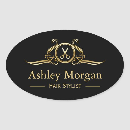 Gold Luxury Beauty Salon Hair Cut Scissor Logo Oval