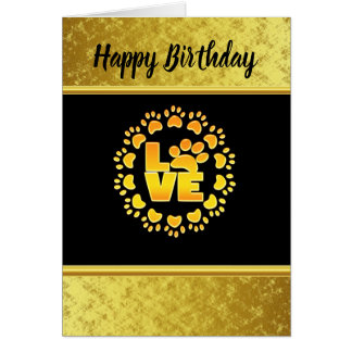 Gold luxury decoration dog paw gold foil and black card