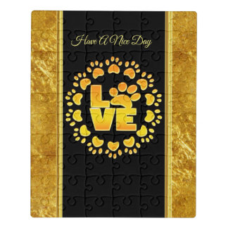Gold luxury decoration dog paw gold foil and black jigsaw puzzle