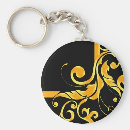 Gold Luxury Floral Frame Keychain