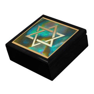 Gold Magen David on Abalone Trinket Box