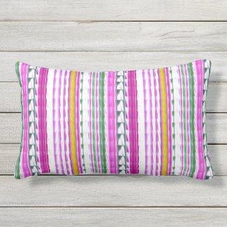 """Gold, Magenta, Teal Stripe Lumbar Pillow 13"""" x 21"""""""