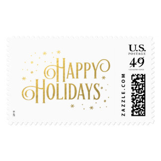 Gold Magic Happy Holidays Christmas Postage Stamps