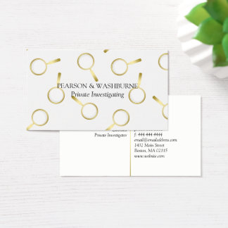 Gold Magnifying Glass Pattern Private Investigator Business Card
