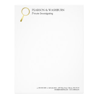 Gold Magnifying Glass Private Eye Name & Contact Letterhead