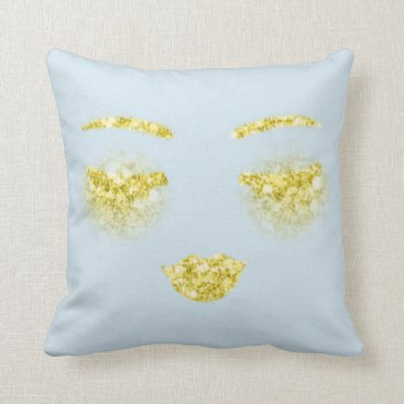 Gold Makeup Lips Lashes Eyes Sparkly Glitter Throw Pillow