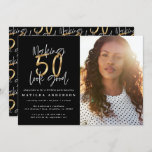 """Gold making 50 look good photo birthday invitation<br><div class=""""desc"""">Making 50 look good photo birthday invitation. Modern script text monochrome and gold effect design. Part of a collection.</div>"""
