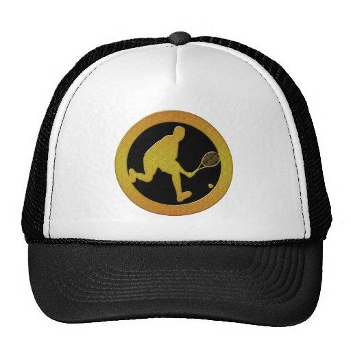 GOLD MALE TENNIS PLAYER TRUCKER HAT