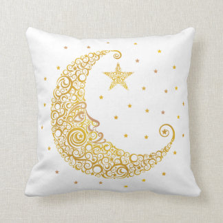 Gold Man in the Moon Pillow