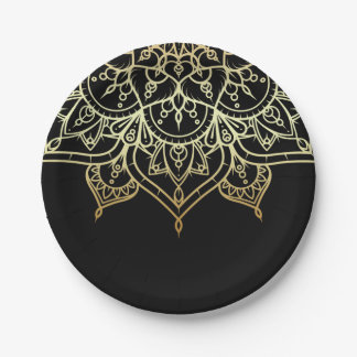 Gold Mandala Black Chic Modern Glam Party Paper Plate