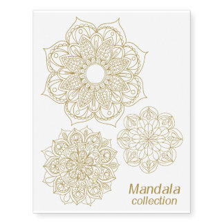 Gold Mandala Collection Temporary Tattoos