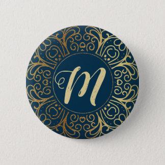 Gold Mandala Damask Pattern & Monogram Pinback Button