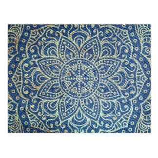 Gold Mandala on Blue Jeans Postcard