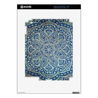 Gold Mandala on Blue Jeans Skins For iPad 2