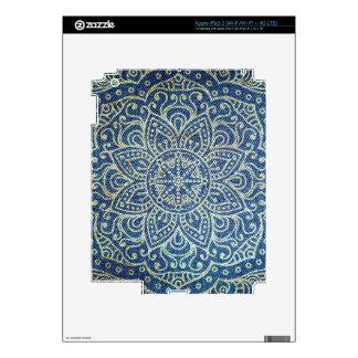 Gold Mandala on Blue Jeans Skins For iPad 3
