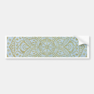 Gold Mandala on Light Blue Jeans Bumper Sticker