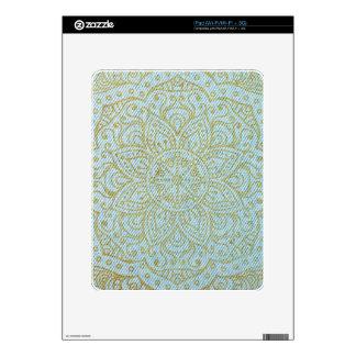 Gold Mandala on Light Blue Jeans iPad Decal