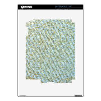 Gold Mandala on Light Blue Jeans Skin For iPad 2