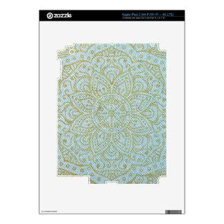 Gold Mandala on Light Blue Jeans Skin For iPad 3