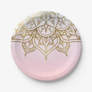 Gold Mandala Pink Peach Chic Modern Glam Party Paper Plate
