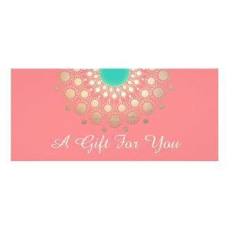 Gold Mandala Pink Salon and Spa Gift Certificate Rack Card