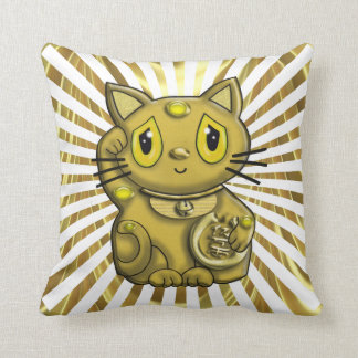 Gold Maneki Good Luck Cat Beckoning  American MoJo Throw Pillow