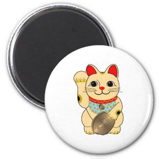 Gold Maneki Neko 2 Inch Round Magnet
