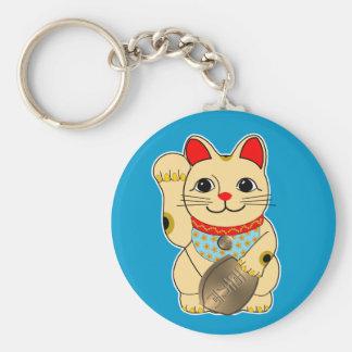 Gold Maneki Neko Basic Round Button Keychain