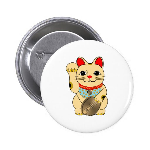 Gold Maneki Neko Buttons