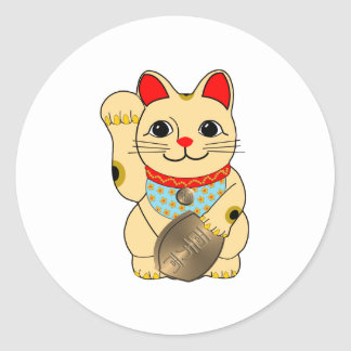 Gold Maneki Neko Classic Round Sticker