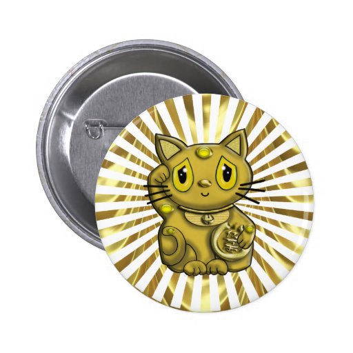 Gold Maneki Neko Lucky Beckoning Cat Buttons