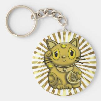 Gold Maneki Neko Lucky Beckoning Cat Keychains