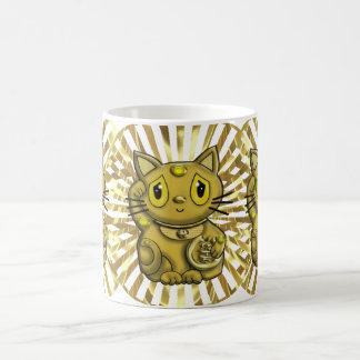 Gold Maneki Neko Lucky Beckoning Cat Mugs