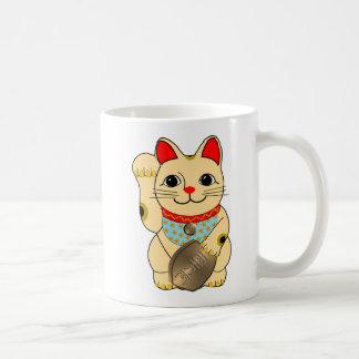 Gold Maneki Neko Classic White Coffee Mug