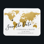 "Gold Map Destination Wedding Save the Date Magnet<br><div class=""desc"">EASILY MOVE THE HEART ON THE MAP TO YOUR WEDDING DESTINATION on our authentic-looking faux gold foil world map to create your destination wedding save the date magnet that will look amazing on the fridge. —— Click CUSTOMIZE FURTHER to move the heart, change the background and text color, change fonts,...</div>"
