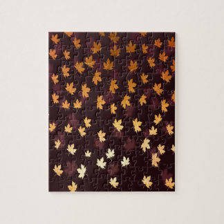Gold Maple Leaf on dark red Jigsaw Puzzle