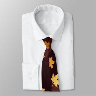 Gold Maple Leaf on dark red Neck Tie