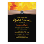 Gold Maple Leaves & Diamond Autumn Bridal Shower 5x7 Paper Invitation Card
