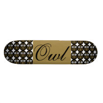 Gold Maple Owl Skateboard Deck