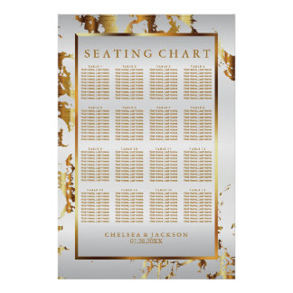 Gold Marble and White Satin - Seating Chart