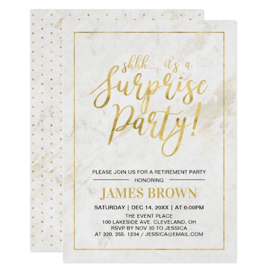 Gold Marble Modern Surprise Retirement Party Invitation
